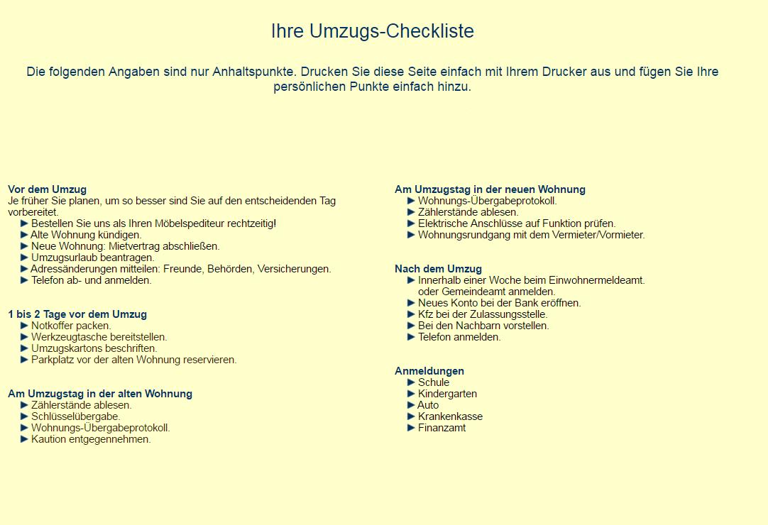 Umzugs-Checkliste - Walk Umzüge